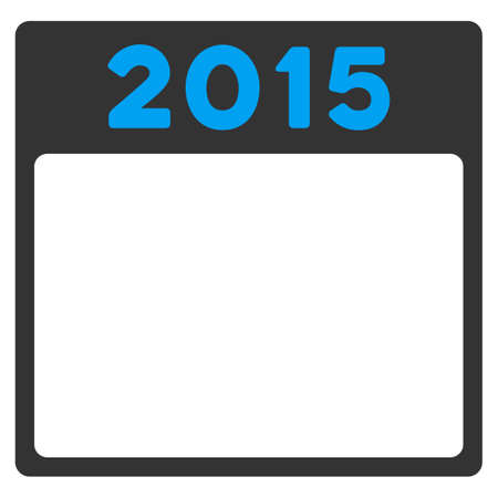 agenda year planner: 2015 Calendar vector icon. Style is bicolor flat symbol, blue and gray colors, rounded angles, white background.