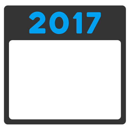 organizer: 2017 Organizer vector icon. Style is bicolor flat symbol, blue and gray colors, rounded angles, white background.