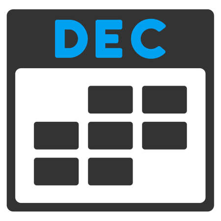 todo: December vector icon. Style is bicolor flat symbol, blue and gray colors, rounded angles, white background.