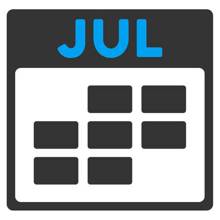 todo: July vector icon. Style is bicolor flat symbol, blue and gray colors, rounded angles, white background.