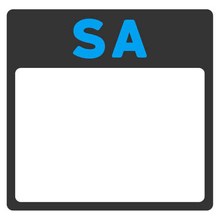todo: Saturday vector icon. Style is bicolor flat symbol, blue and gray colors, rounded angles, white background. Illustration