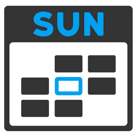 todo: Sunday vector icon. Style is bicolor flat symbol, blue and gray colors, rounded angles, white background.