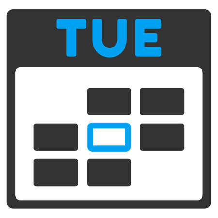 tuesday: Tuesday vector icon. Style is bicolor flat symbol, blue and gray colors, rounded angles, white background. Illustration