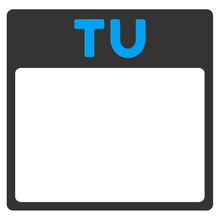 todo: Tuesday vector icon. Style is bicolor flat symbol, blue and gray colors, rounded angles, white background. Illustration