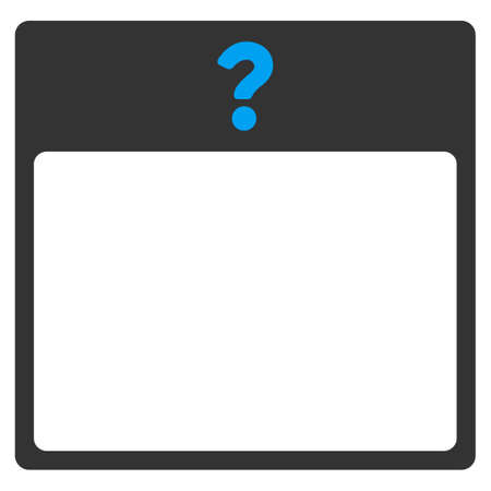 unnamed: Unknown Date vector icon. Style is bicolor flat symbol, blue and gray colors, rounded angles, white background. Illustration