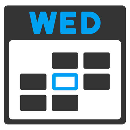 wednesday: Wednesday vector icon. Style is bicolor flat symbol, blue and gray colors, rounded angles, white background.