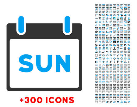 Sunday vector pictogram with additional 300 date and time management icons. Style is bicolor flat symbols, blue and gray colors, rounded angles, white background.