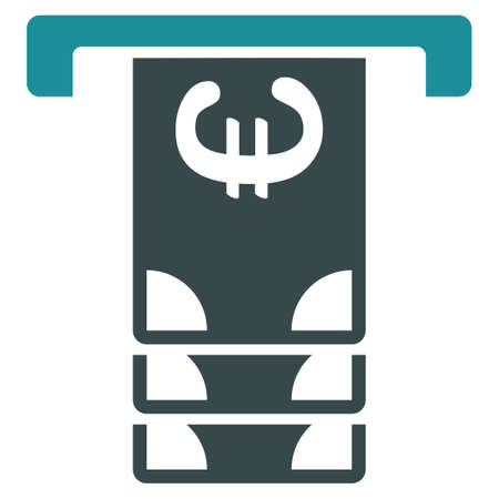 withdraw: Euro Atm Withdraw glyph icon. Style is bicolor flat symbol, soft blue colors, rounded angles, white background.