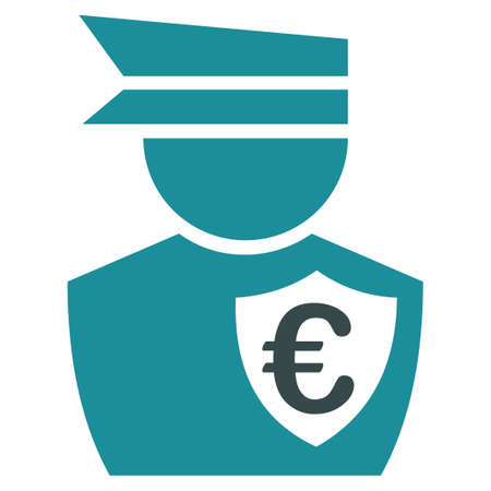 commissioner: Euro Commissioner glyph icon. Style is bicolor flat symbol, soft blue colors, rounded angles, white background.
