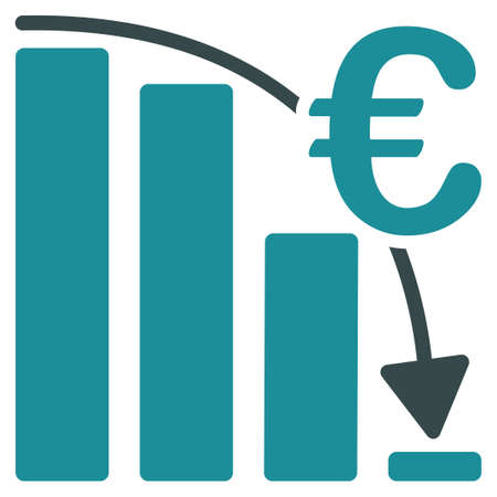 bar graph: Euro Epic Fail Crisis glyph icon. Style is bicolor flat symbol, soft blue colors, rounded angles, white background.