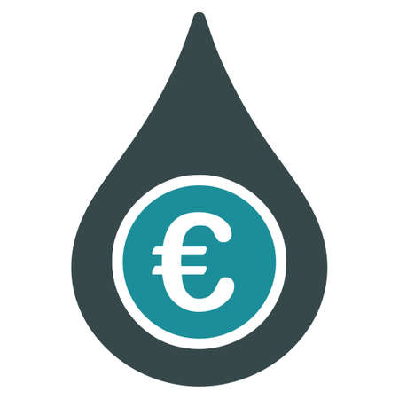 natural gas prices: Euro Liquid Drop glyph icon. Style is bicolor flat symbol, soft blue colors, rounded angles, white background.