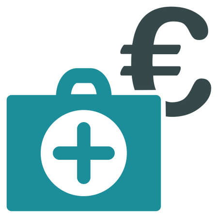 health care funding: Euro Medical Payment glyph icon. Style is bicolor flat symbol, soft blue colors, rounded angles, white background.