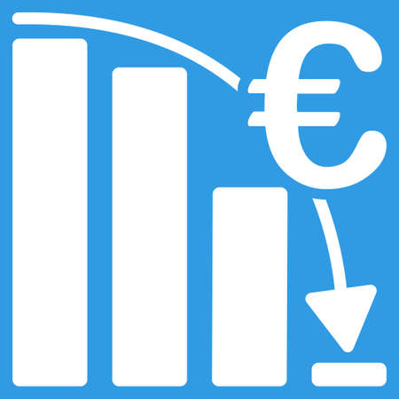 epic: Euro Epic Fail Crisis icon. Style is flat symbol, white color, rounded angles, blue background.