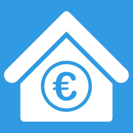 Euro Financial Center icon. Style is flat symbol, white color, rounded angles, blue background. Ilustração