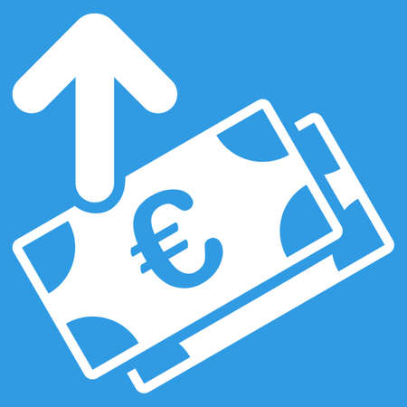 spend: Spend Euro Banknotes icon. Style is flat symbol, white color, rounded angles, blue background. Illustration