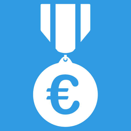 honor: Euro Honor Medal icon. Style is flat symbol, white color, rounded angles, blue background.