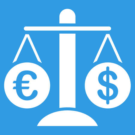 Currency Compare icon. Style is flat symbol, white color, rounded angles, blue background. Illustration