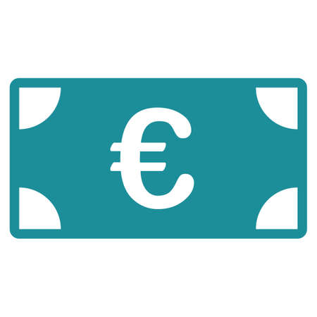banknote: Euro Banknote glyph icon. Style is flat symbol, soft blue color, rounded angles, white background. Stock Photo