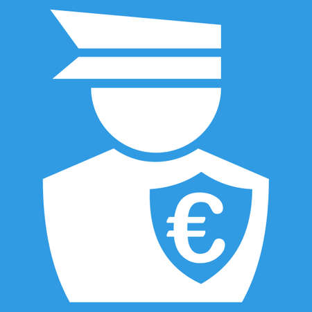 commissioner: Euro Commissioner icon. Style is flat symbol, white color, rounded angles, blue background. Illustration