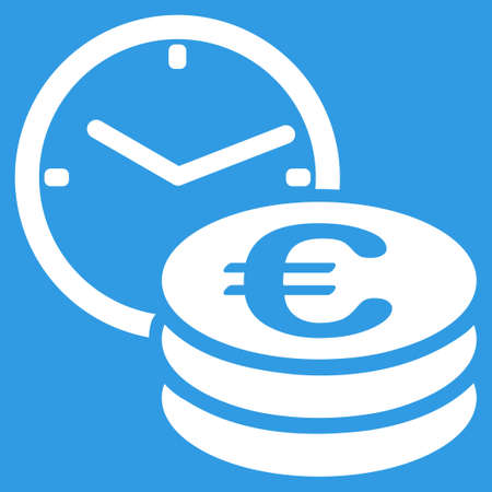 procent: Euro Credit icon. Style is flat symbol, white color, rounded angles, blue background. Illustration