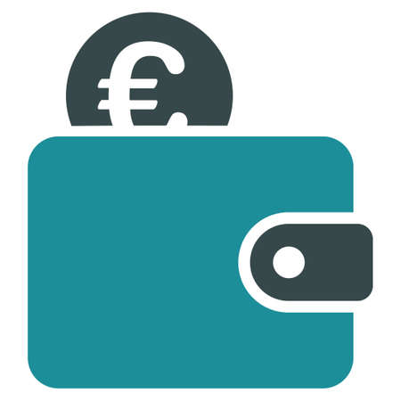 billfold: Euro Wallet glyph icon. Style is bicolor flat symbol, soft blue colors, rounded angles, white background.
