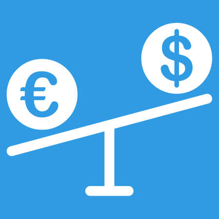 femida: Currency Market icon. Style is flat symbol, white color, rounded angles, blue background.