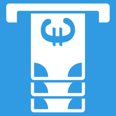 withdraw: Euro Atm Withdraw icon. Style is flat symbol, white color, rounded angles, blue background.