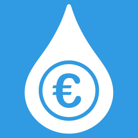 natural gas prices: Euro Liquid Drop icon. Style is flat symbol, white color, rounded angles, blue background. Illustration