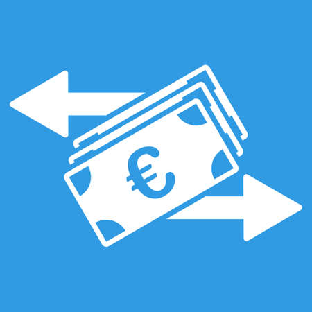 euro money: Euro Money Transfer icon. Style is flat symbol, white color, rounded angles, blue background.