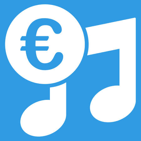 multimedia pictogram: Euro Music Notes icon. Style is flat symbol, white color, rounded angles, blue background.