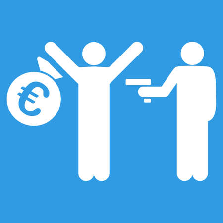 robbery: Euro Robbery icon. Style is flat symbol, white color, rounded angles, blue background.