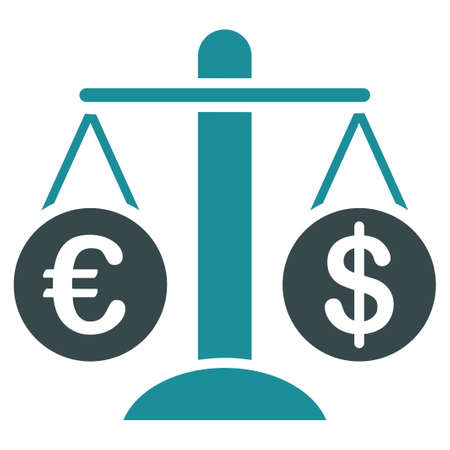 compare: Currency Compare glyph icon. Style is bicolor flat symbol, soft blue colors, rounded angles, white background.