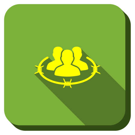 Strict Management vector icon. Style is square rounded button, vector symbol with longshadow, white background. Illustration
