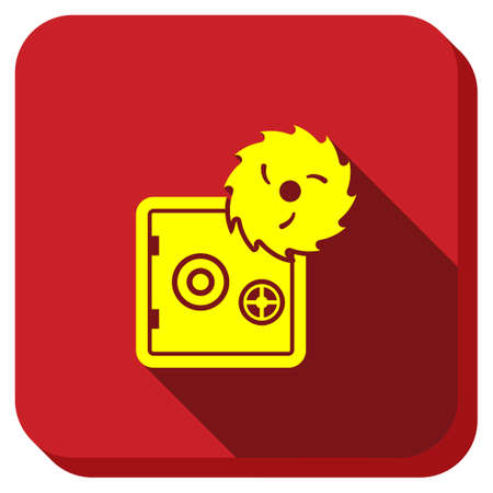 disk break: Breaking The Bank vector icon. Style is square rounded button, vector symbol with longshadow, white background. Illustration