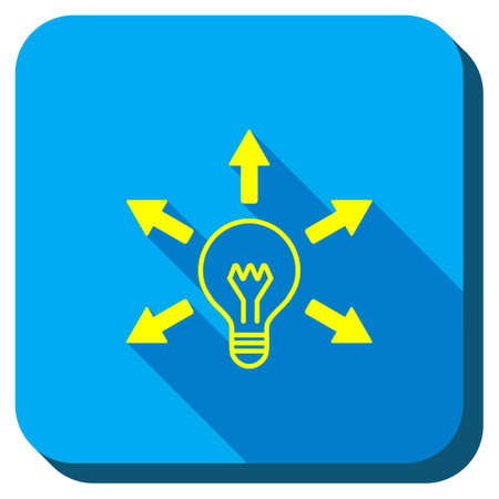 vector square blue icon lighting bulb. bulb light vector icon. style is square rounded button, symbol with longshadow, blue icon lighting