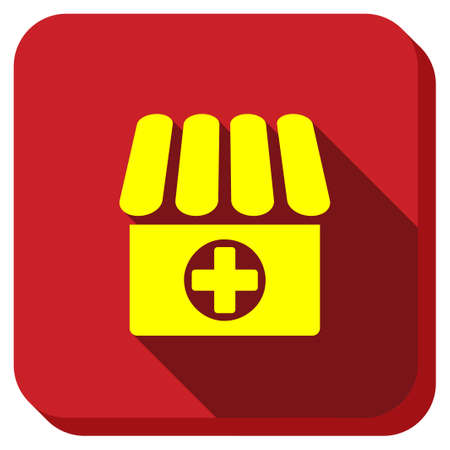 polyclinic: Drugstore vector icon. Style is square rounded button, vector symbol with longshadow, white background. Illustration