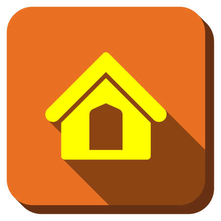 homeland: Home vector icon. Style is square rounded button, vector symbol with longshadow, white background.