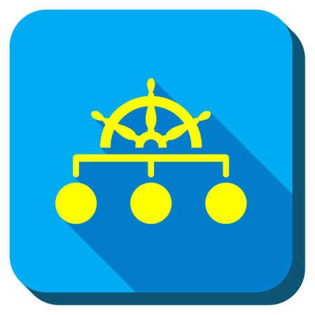 Beheer Steering Rule vector icon. Stijl is vierkante afgeronde knop, vector symbool met Longshadow, witte achtergrond. Stock Illustratie