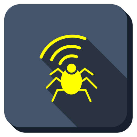 secret service: Radio Bug vector icon. Style is square rounded button, vector symbol with longshadow, white background. Illustration