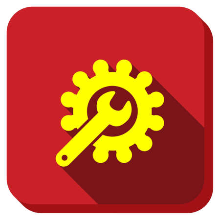Repair Service vector icon. Style is square rounded button, vector symbol with longshadow, white background.