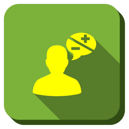 arguments: Person Arguments vector icon. Style is square rounded button, vector symbol with longshadow, white background.