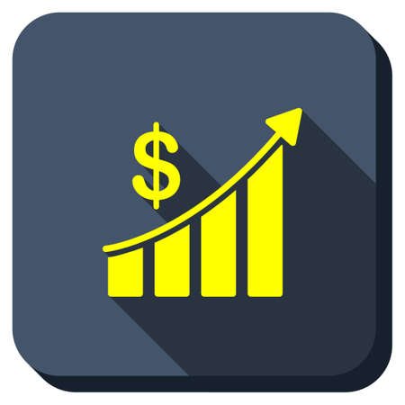 sales trend: Sales Trend Bar Chart vector icon. Style is square rounded button, vector symbol with longshadow, white background.