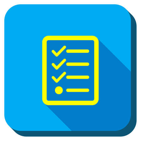 task list: Task List vector icon. Style is square rounded button, vector symbol with longshadow, white background. Illustration