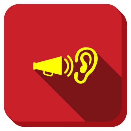 オーディオ広告グリフ アイコン。スタイルは、正方形の丸いボタン、longshadow、白い背景を持つグリフのシンボルです。