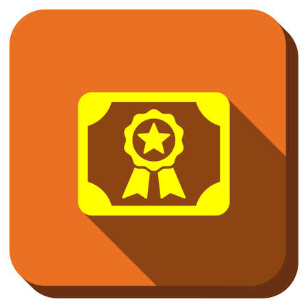 attest: Certification Diploma glyph icon. Style is square rounded button, glyph symbol with longshadow, white background.