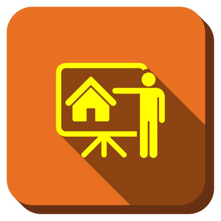 realtor: Realtor Report glyph icon. Style is square rounded button, glyph symbol with longshadow, white background. Stock Photo