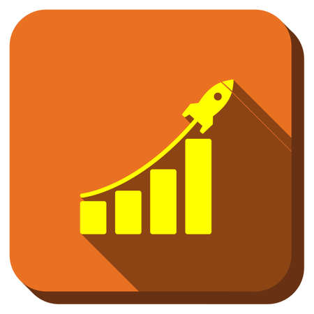 satellite launch: Stratup Sales Bar Chart glyph icon. Style is square rounded button, glyph symbol with longshadow, white background.