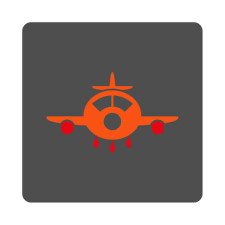 airflight: Aviation vector icon. Style is flat rounded square silver button with red symbol, white background.