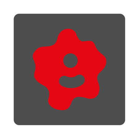 ameba: Ameba vector icon. Style is flat rounded square silver button with red symbol, white background. Illustration