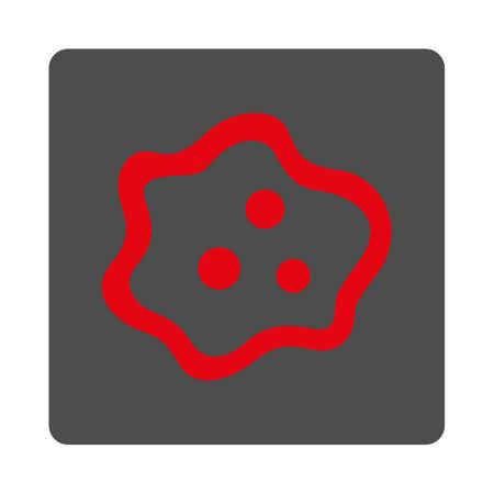 ameba: Microbe vector icon. Style is flat rounded square silver button with red symbol, white background. Illustration